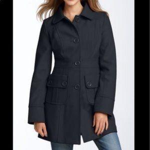 Anthropologie Tulle  Black Wool Pea Coat